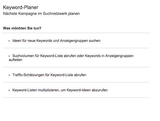 Keywordplanner verwenden