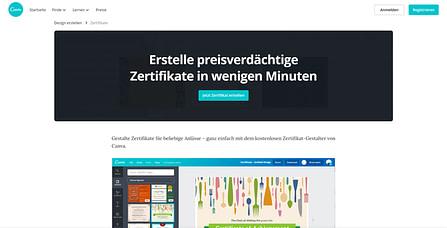 Zertifikat erstellen Landing Page