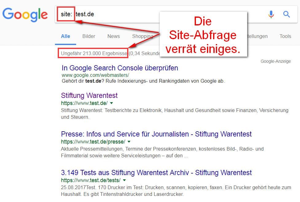 Die Site Abfrage (Operator) bei Google verrät viel.