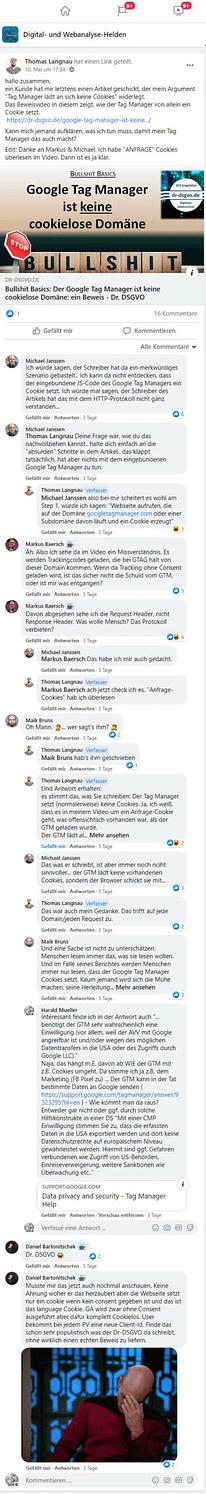 Absurde GTM Diskussionen im Web