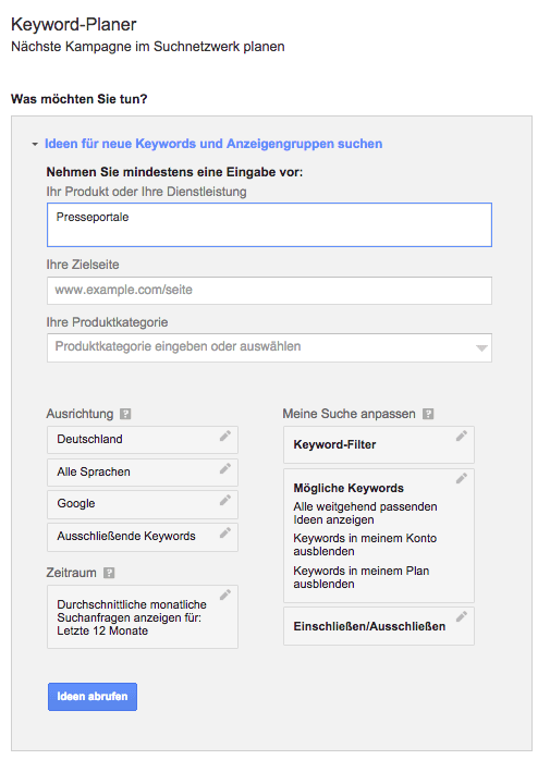 Google KeywordPlanner nutzen