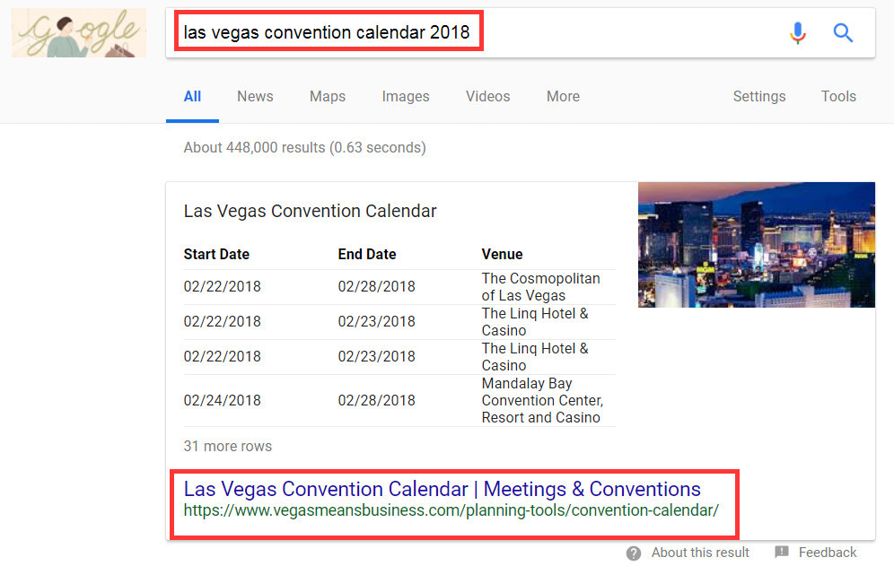 Google Snippets für Events