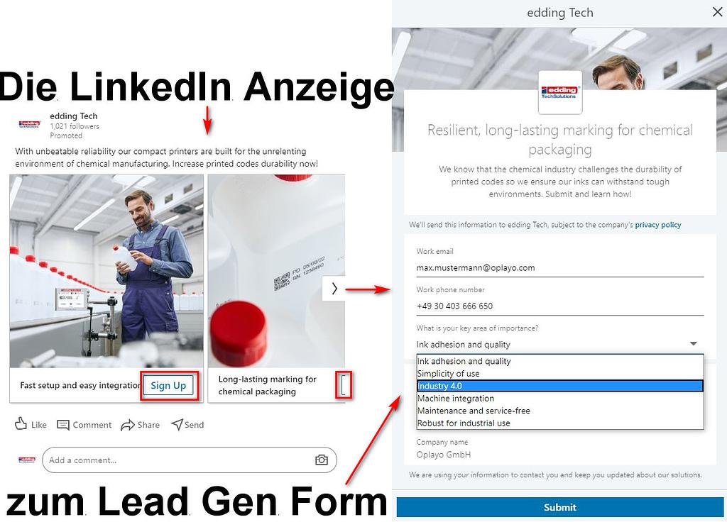 LinkedIn Lead Gen Formular